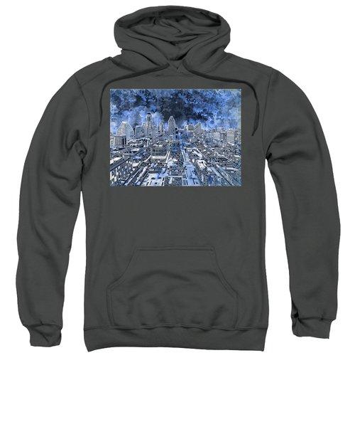 Austin Texas Abstract Panorama 5 Sweatshirt by Bekim Art