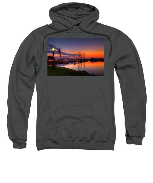 Bayfield Wisconsin Fire In The Sky Over The Harbor Sweatshirt