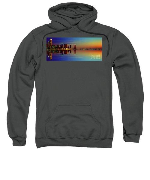 Between Night And Day Chicago Skyline Mirrored Sweatshirt