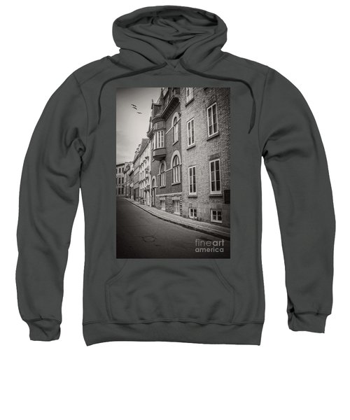 Black And White Old Style Photo Of Old Quebec City Sweatshirt