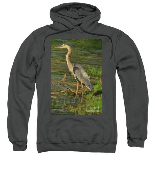 Blue Heron On The Bank Sweatshirt