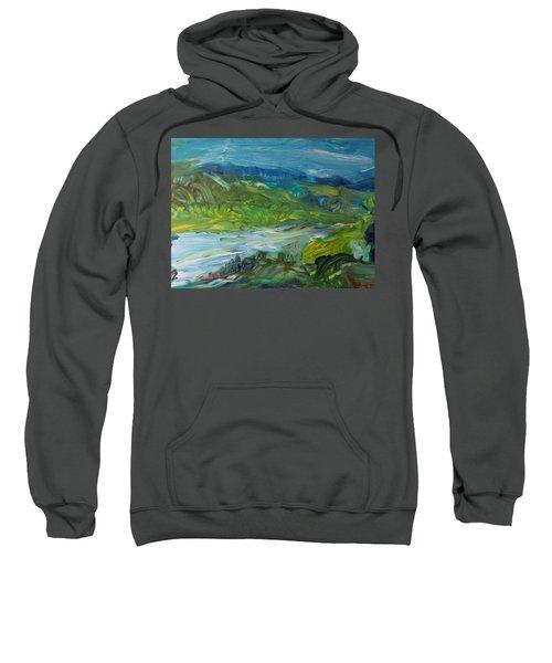 Blue River Landscape II, 1988 Oil On Canvas Sweatshirt