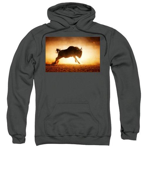 Blue Wildebeest Running In Dust Sweatshirt