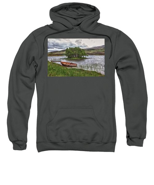 Boat On Lake Bank 1929 Sweatshirt