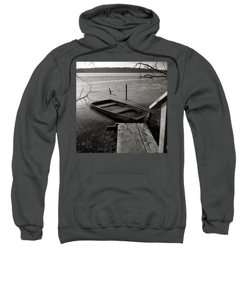 Boat In Ice - Lake Wingra - Madison - Wi Sweatshirt