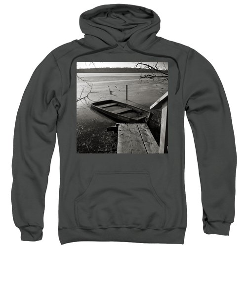 Boat In Ice - Lake Wingra - Madison - Wi Sweatshirt