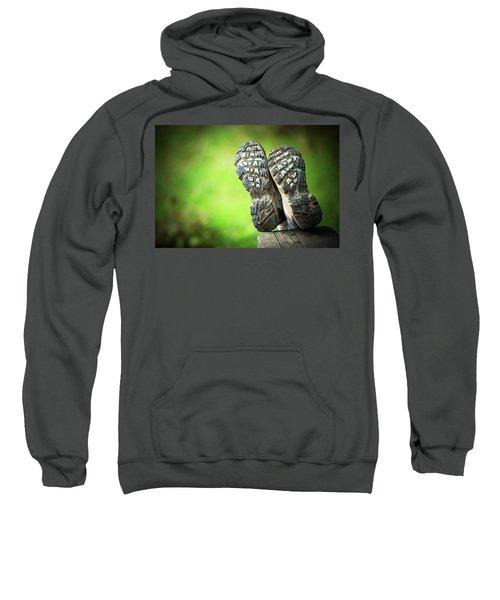 Bottom View Of Hiking Shoes Sweatshirt
