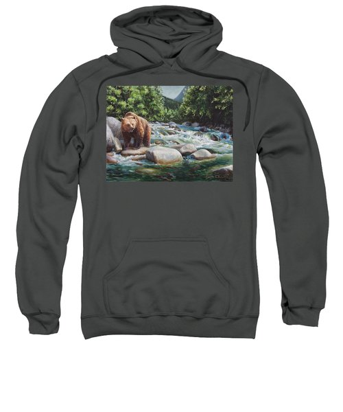Brown Bear And Salmon On The River - Alaskan Wildlife Landscape Sweatshirt