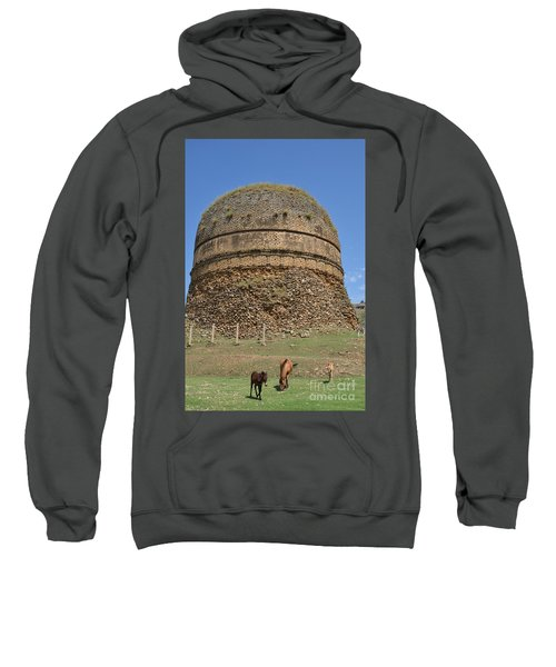 Buddhist Religious Stupa Horse And Mules Swat Valley Pakistan Sweatshirt