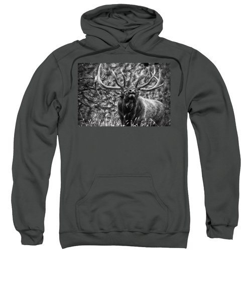 Bull Elk Bugling Black And White Sweatshirt