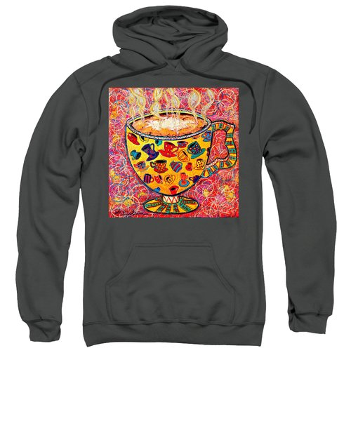 Cafe Latte - Coffee Cup With Colorful Coffee Cups Some Pink And Bubbles  Sweatshirt