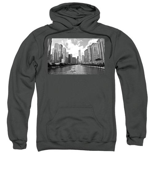 Chicago River Black And White Sweatshirt