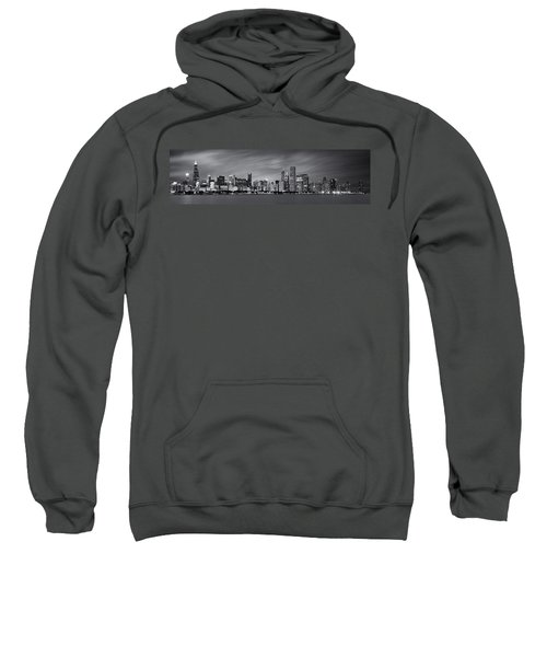 Chicago Skyline At Night Black And White Panoramic Sweatshirt by Adam Romanowicz