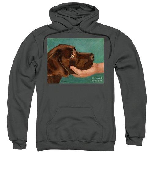 Chocolate Lab Head In Hand Sweatshirt