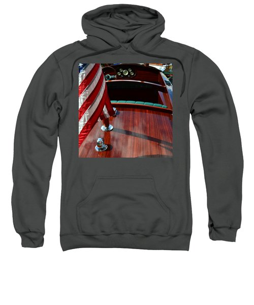 Chris Craft With Flag And Steering Wheel Sweatshirt