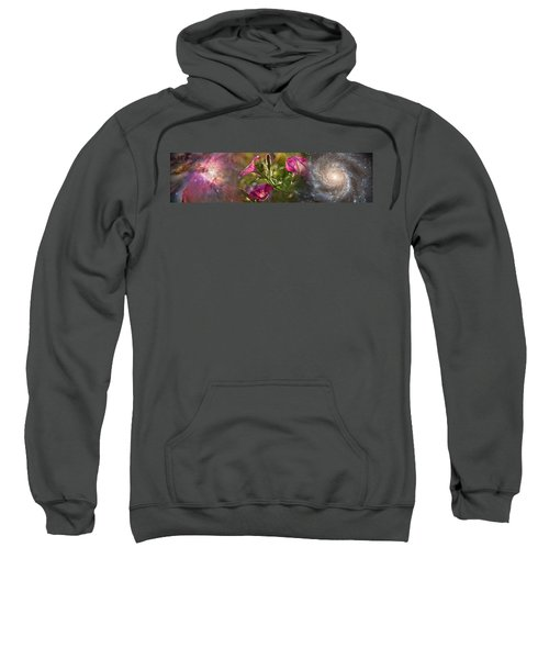 Close-up Of Flowers And Universe Sweatshirt