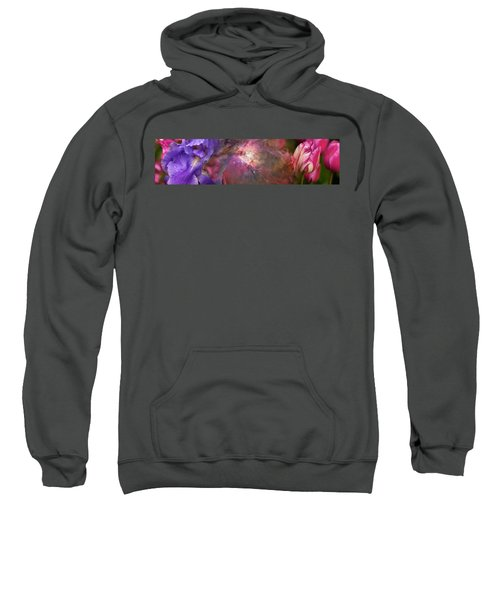 Close-up Of Galaxy With Iris And Tulips Sweatshirt