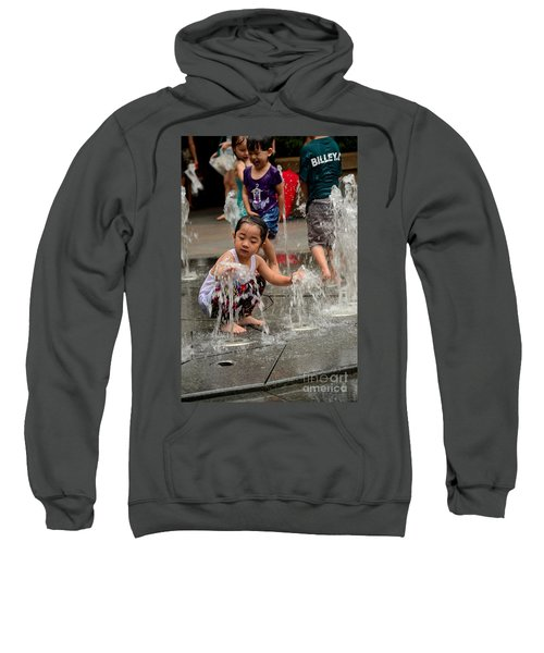 Clothed Children Play At Water Fountain Sweatshirt