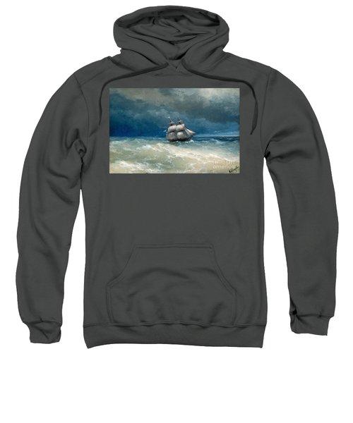 Coastal Scene With Stormy Waters Sweatshirt