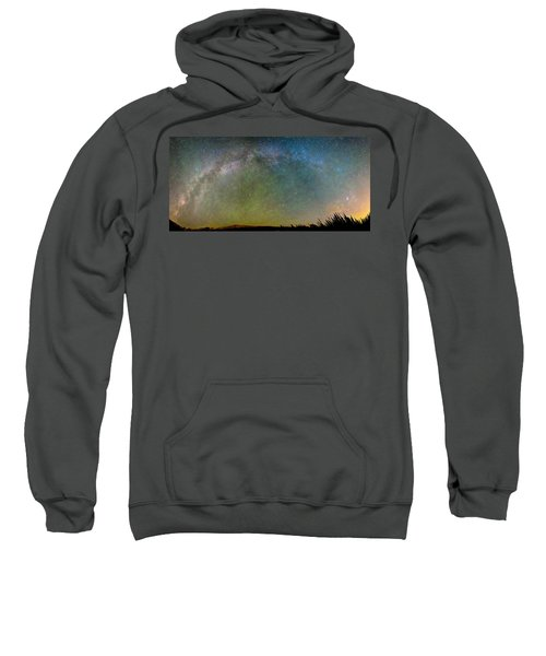 Colorado Indian Peaks Milky Way Panorama Sweatshirt