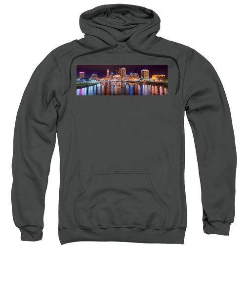 Columbus Skyline At Night Color Panorama Ohio Sweatshirt