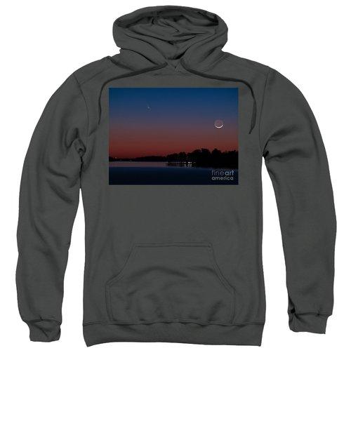 Comet Panstarrs And Crescent Moon Sweatshirt