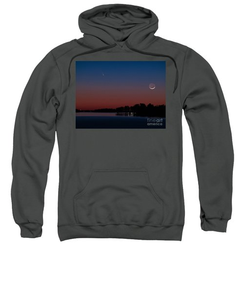 Comet Panstarrs And Crescent Moon Sweatshirt