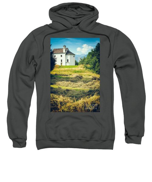 Sweatshirt featuring the photograph Country Church With Hay by Silvia Ganora