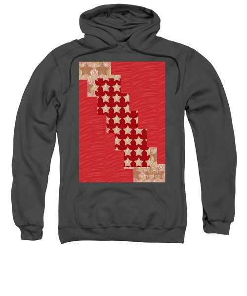 Cross Through Sparkle Stars On Red Silken Base Sweatshirt