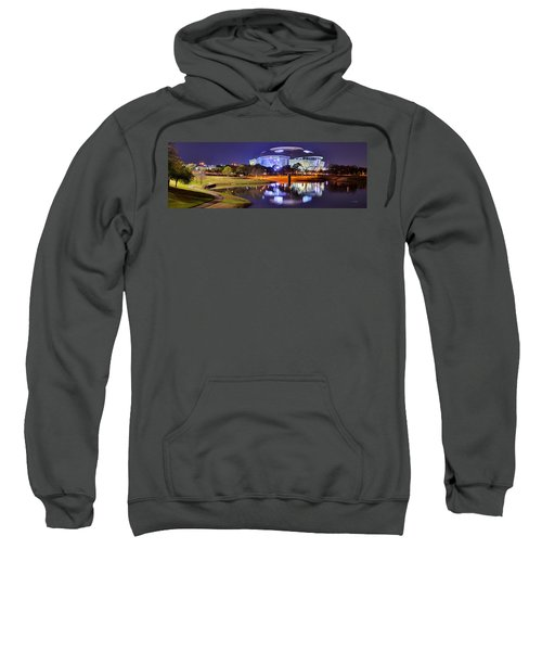 Dallas Cowboys Stadium At Night Att Arlington Texas Panoramic Photo Sweatshirt