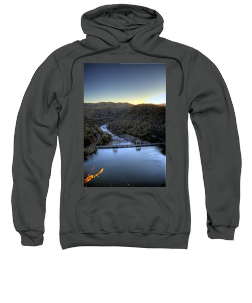 Sweatshirt featuring the photograph Dam Across The River by Jonny D