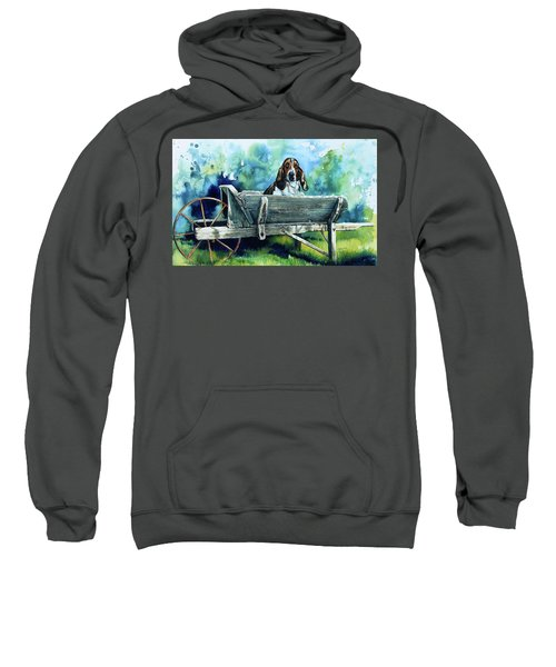 Sweatshirt featuring the painting Darn Dog Days by Hanne Lore Koehler