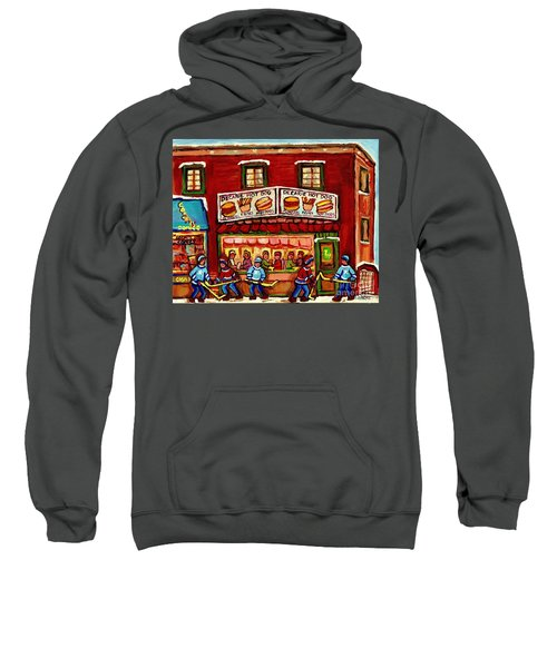Decarie Hot Dog Restaurant Cosmix Comic Store Montreal Paintings Hockey Art Winter Scenes C Spandau Sweatshirt