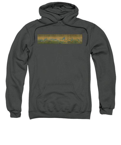 Sweatshirt featuring the painting Detail Of A Thousand Li Of River by Celestial Images