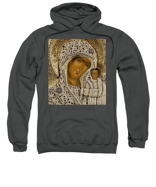 Detail Of An Icon Showing The Virgin Of Kazan By Yegor Petrov Sweatshirt