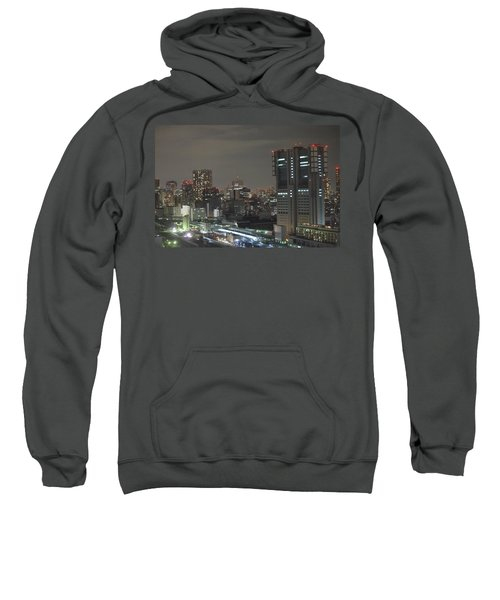 Docomo Tower Over Shinagawa Station And Tokyo Skyline At Night Sweatshirt by Jeff at JSJ Photography