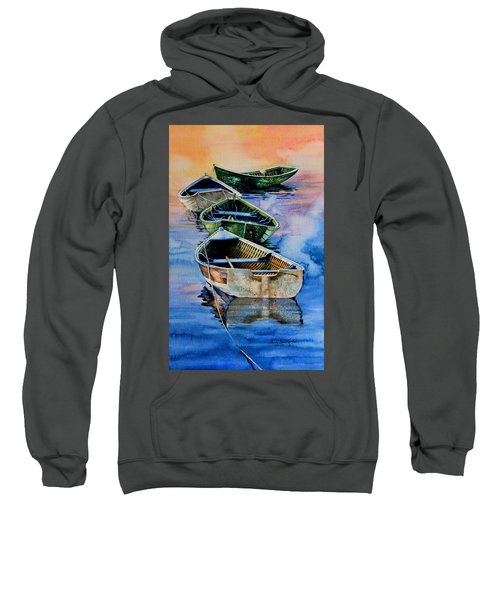 Sweatshirt featuring the painting Down East Dories At Dawn by Hanne Lore Koehler