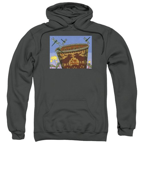 Sweatshirt featuring the painting Dragonfly - Cohkanapises by Chholing Taha