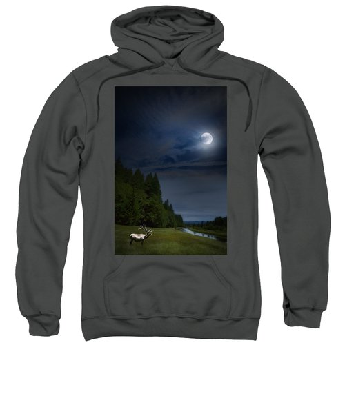 Elk Under A Full Moon Sweatshirt
