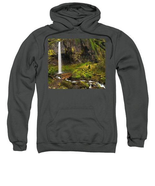 Elowah Falls Panorama -  Columbia River Gorge In Oregon Sweatshirt