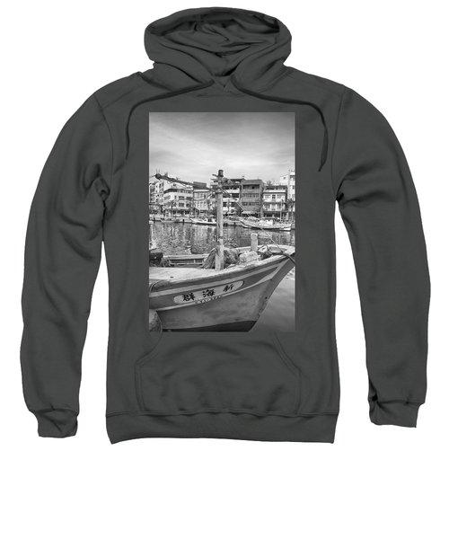 Fishing Boat B W Sweatshirt
