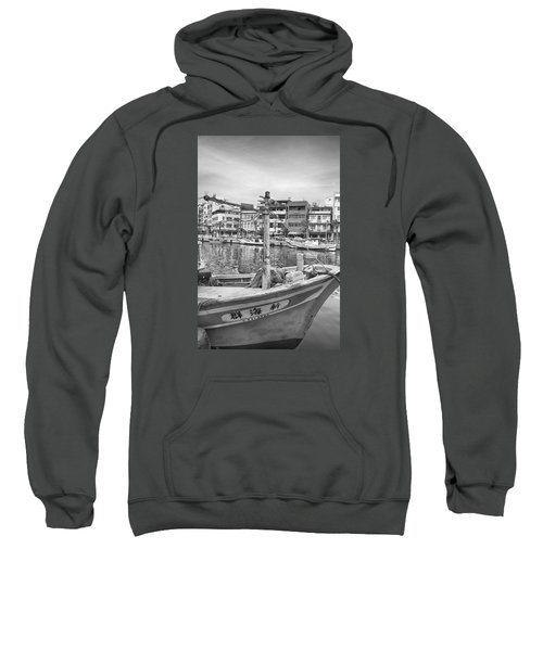 Fishing Boat B W Sweatshirt