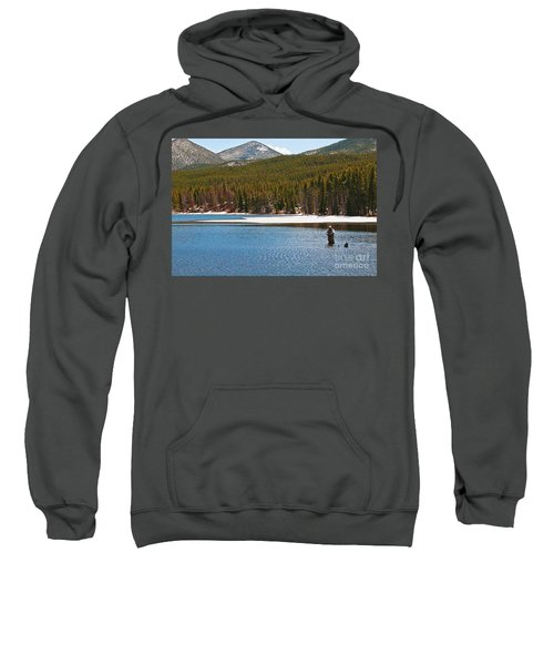 Sweatshirt featuring the photograph Fishing In Winter by Mae Wertz