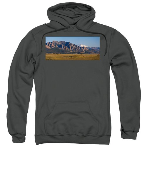 Flatirons And Snow Covered Longs Peak Panorama Sweatshirt