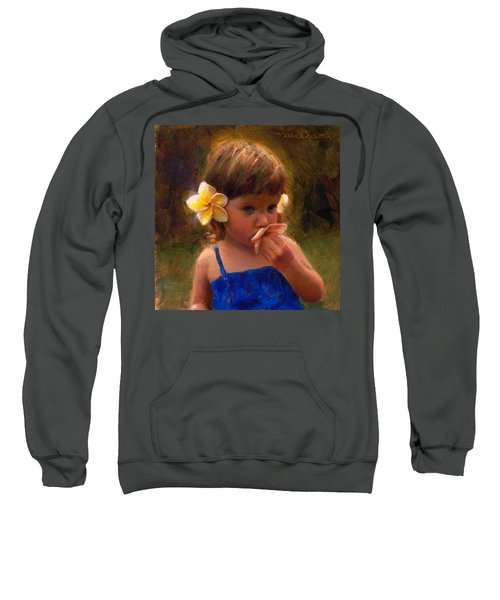 Flower Girl - Tropical Portrait With Plumeria Flowers Sweatshirt