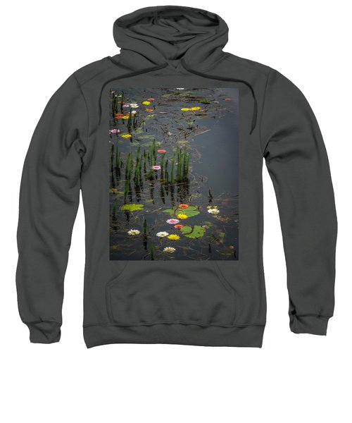 Sweatshirt featuring the photograph Flowers In The Markree Castle Moat by James Truett