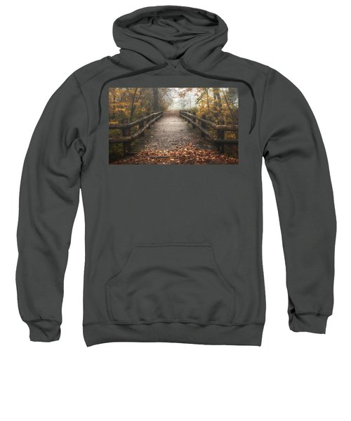 Foggy Lake Park Footbridge Sweatshirt