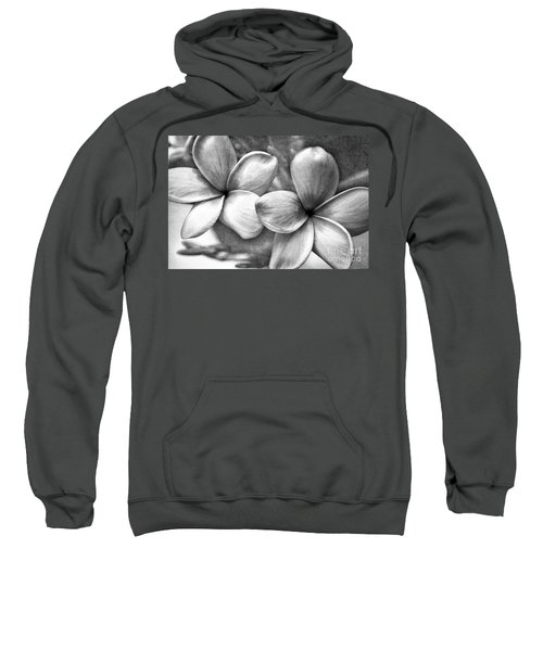 Frangipani In Black And White Sweatshirt by Peggy Hughes