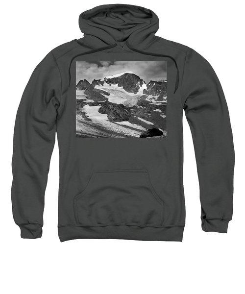 509427-bw-gannett Peak And Gooseneck Glacier, Wind Rivers Sweatshirt