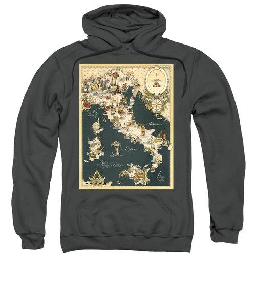 Gastronomic Map Of Italy 1949 Sweatshirt
